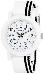 Timex Unisex T2N331AT Originals Camper White Slip-Thru Nylon Strap Watch