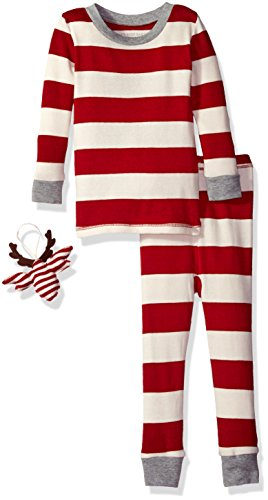 Burt's Bees Baby Infant Unisex Organic 2-Piece Pajama Set with Ornament,Cranberry Rugby Stripe,18 Months