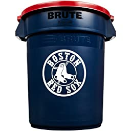Rubbermaid Commercial 1853637 Team Brute 32-Gallon Trash Can and Lid, Boston Red Sox