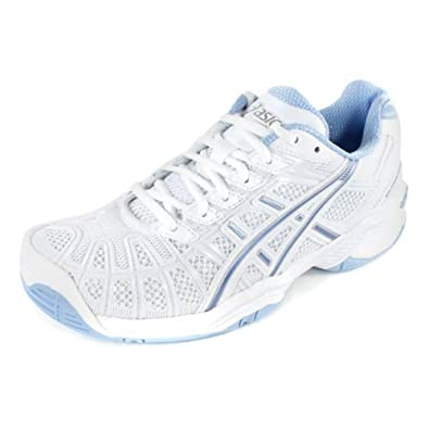 Buy Asics - Ladies Tennis Gel-Resolution 3 Shoes In Wht Ice Blue Lgtng by ASICS
