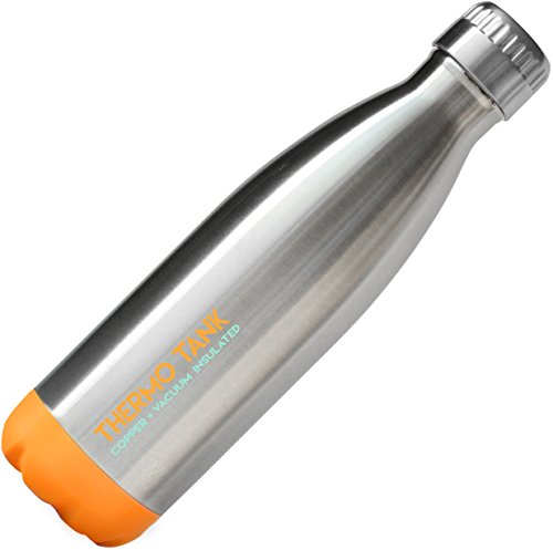 Thermo Tank Insulated Stainless Steel Water Bottle - Ice Cold 36 Hours! Vacuum + Copper Technology - 17 Ounce (Orange + Steel, 17oz) (Orange Juice Flask compare prices)