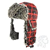 ZANheadgear Trooper Hat with Grey Fur (Buffalo Plaid, One Size)