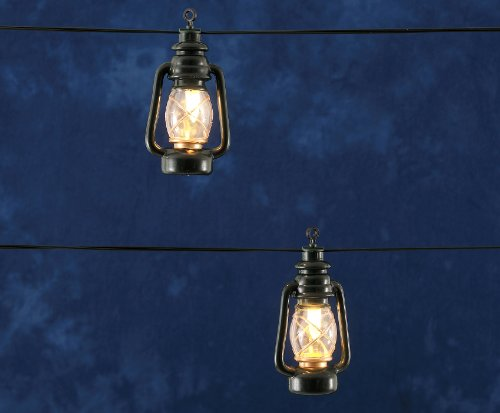 LED Lichterkette für Außen grüne Sturmlaternen, warm weiße Lichter
