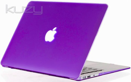 Kuzy - AIR 13-inch Elegant PURPLE Rubberized Hard Case Cover SeeThru for Apple MacBook Air 13.3-inch (A1369 and A1466) - Elegant Purple
