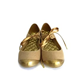 Vegan gold flat pumps