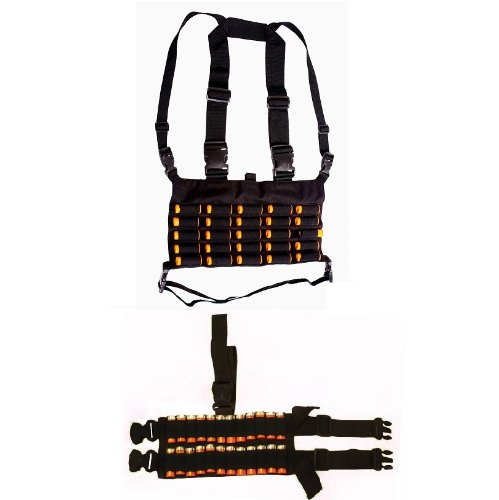 Ultimate Arms Gear Tactical Shotgun Package Holds 49 Shells Includes: Stealth Black Chest Rig 25 Round 12 & 20 GA Gauge Elastic Shotgun Shotshell Cartridge Ammunition Holder Hunting Harness Vest with Hidden Internal Document Map Utility Pocket + 24 Shell Ammo Reload Carrier Thigh Dropleg Black Ambidextrous Adjustable Length Dual Drop Leg Straps (Soe Micro Rig compare prices)