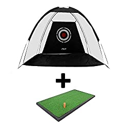 Golfoy Deluxe Golf Practice Cage Net - Black (3 m X 2 m) + Single Surface Practice Hitting Mat