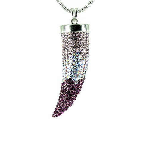 Purple on Silver Plated Large Bling Claw Tusk Horn Necklace