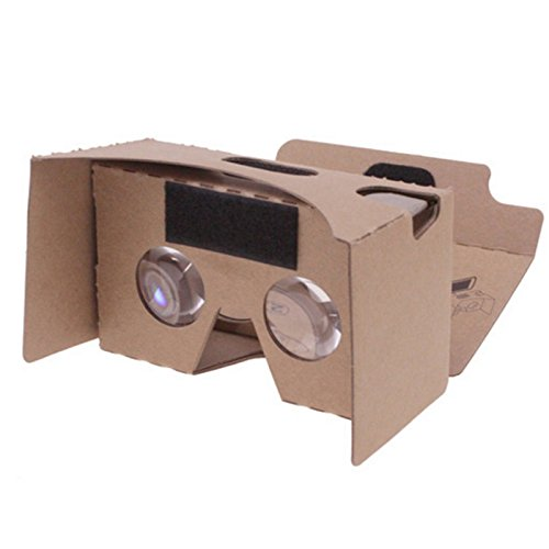 Google Cardboard V2.0 3D Glasses Virtual Reality DIY Portable Head-Mounted 3D VR Video Glasses for iPhone and Android Smartphones Up to 6 Inch Screen Size Khaki