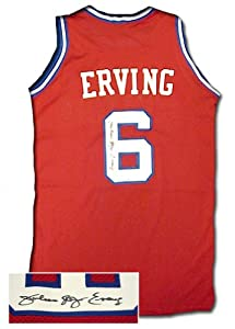 Julius Dr. J Erving Signed Authentic Philadelphia 76Ers Red Jersey