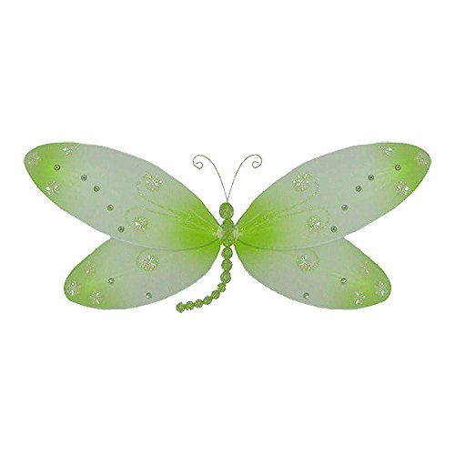 "The Butterfly Grove Skylar Dragonfly Decoration 3D Hanging Mesh Organza Nylon Decor, Green Honeydew, , 17"" x 9"""