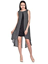 IKnow Women's Fit and Flare Black and White Dress