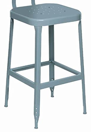 "Lyon DD1800 All Welded Steel Seat Stool with Steel Glide Feet, 24"" Height, 400 lbs Capacity, Dove Gray, (Pack of 2)"