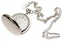Reproduction of classic mechanical full hunter pocket watch chrome cased with subsidiary seconds dial