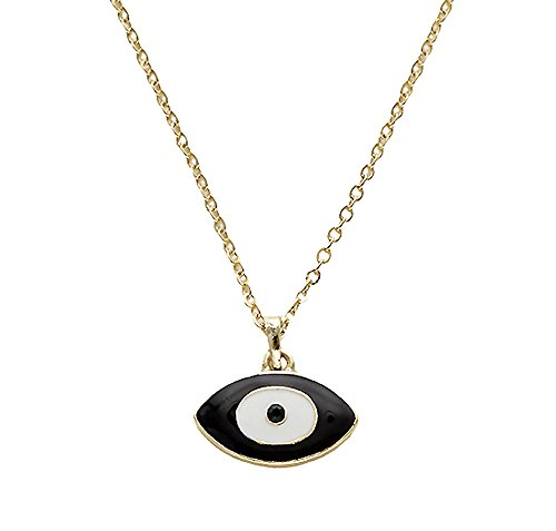 Gold Tone Black Evil Eye Small Pendant Necklace