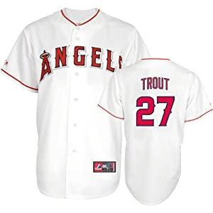 MLB Los Angeles Angels Mike Trout 27 Mens Home Replica Jersey, White by Majestic