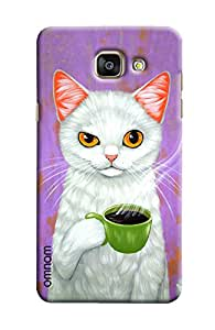Omnam Cat Drinking Tea Printed Designer Back Cover Case For Samsung Galaxy A5 2016 (A510)