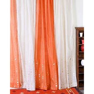 Chanderi Circle Curtains -Cream-44 x 84