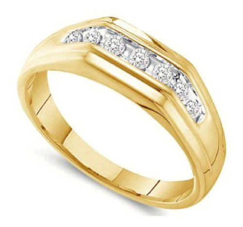 0.25 Cttw 10K Yellow Gold Seven 7 Stone Round Diamond Channel Set Mens Wedding Ring Band (Sizes 8-13)