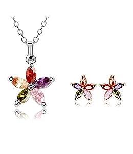 Forme Ijewellery KC White Gold Plated collier pendentif en cristal multicolore verre et Boucles d'oreilles Ensemble de bijoux pour les femmes ICB011