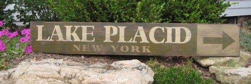 Lake Placid, New York - Hand Painted Wooden Sign