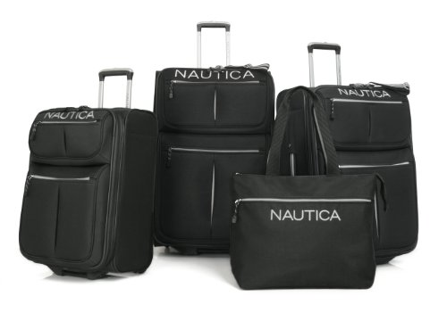 Nautica Luggage Smooth Rolling Four Piece Set, Black/Silver, One Size top deals
