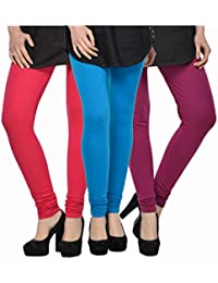 Kjaggs Women's Cotton Lycra Regular Fit Leggings Combo - Pack Of 3 (KTL-TP-8-9-19, Blue, Rani Pink, Purple)