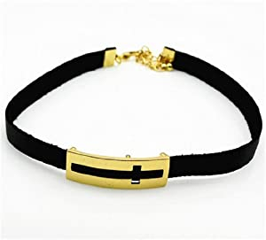 Yasson Bling Fashion Jewelry Gold Plated Alloy Engraving Cross Black Leather Rope Choker Necklace