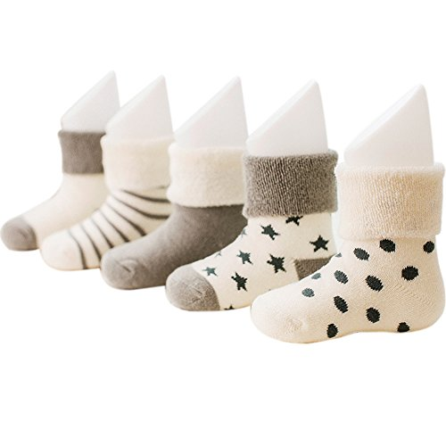 VWU Baby Thick Cuff Cotton Socks 5-pack 7 Color Available (0-6 months, Gray)