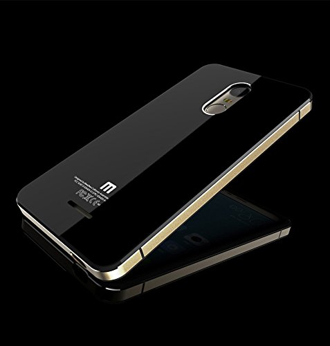 pretty nice f2617 5a2c0 New Slim Luxury Xiaomi Redmi Note 3 Case Aluminum Metal Frame+Tempered  Glass Battery Cover Case For Xiaomi Note3 -BLACK WITH GOLDEN