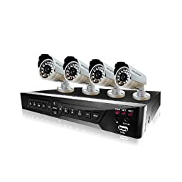 LaView 4 Camera Security System, D1 RealTime 4 Channel DVR w/500GB HDD and 4 Bullet 600TVL Day and Night Indoor/Outdoor Surveillance Kit