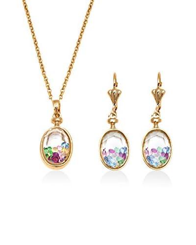 Barzel 2-Piece Oval Jewel Case Pendant Necklace & Earrings Set with Swarovski Elements