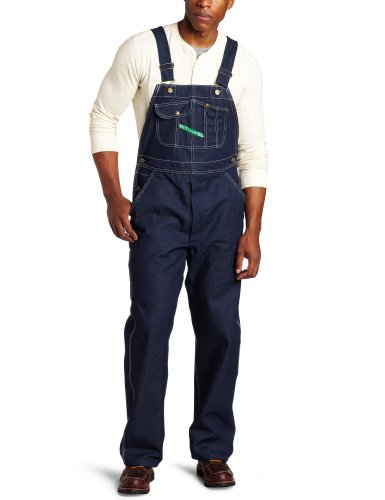 Key Apparel Men's Zip Fly High Back Bib Overall, Indigo Denim, 50x30