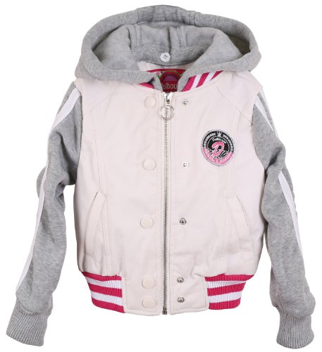 Dollhouse Little Girls and Toddlers PU Leather Rib Trim Jacket with Removable Hood - White (Size 6X) Rib Trim Jacket