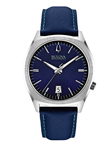 Bulova Accutron II Men's Quartz Watch with Blue Dial Analogue Display and Blue Leather Strap 96B212