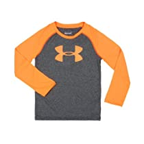 Under Armour Boys 2-7 Logo Raglan Long Sleeve Tee, Orange, 4