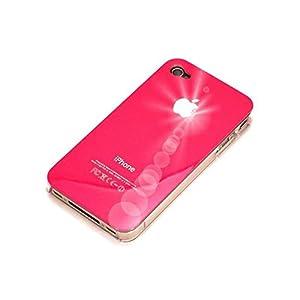 """""""Classique"""" iPhone 4 Coque de protection - Rose Foncé & """"Ice"""" protection écran. La peau d'origine coque & cristal protecteur transparent écran propre pour iPhone 4."""