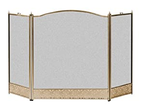 Panacea Products 15961 Antique Brass Screen with Filigree for Fireplace