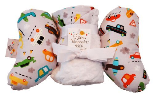 Baby Elephant Ears Head Support Pillow & Matching Blanket Gift Set (Vroom) - 1