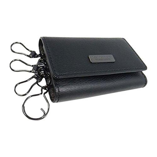 バーバリー ブラックレーベル 5連 本革 キーケース burberry black label レザー 鍵 バッグ 財布 メンズ レディース (ブラック×ブラック)