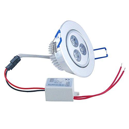 Hossen® 3X1W Led 300Lm Warm White Round Recessed Roof Ceiling Cabinet Light Lamp Bulb Downlight 100V - 240V+ Led Driver