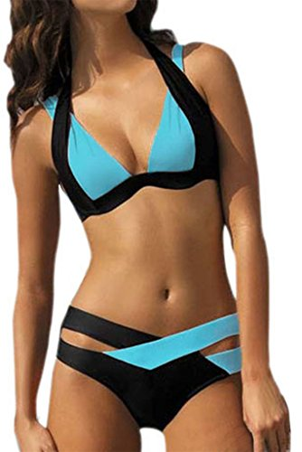 EVALESS Womens Cross Double Colored Padded Push Up Halter Bikini