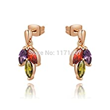 buy Big Moments Womens Ladies Vintage Designer Jewelry Gift Rose Gold Copper Multicolor Three Big Crystal Earrings