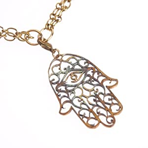 Large Hamsa Iridescent Pendant Necklace on 36