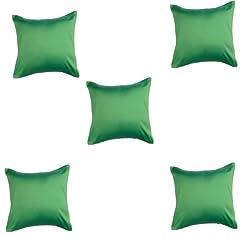 Trendz Trendy & Plain Cushion Covers- Set of 5 - 12 X 12 , green