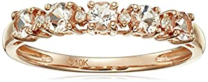 10k Rose Gold Morganite and Diamond Stackable Ring, Size 7 from Amazon Collection