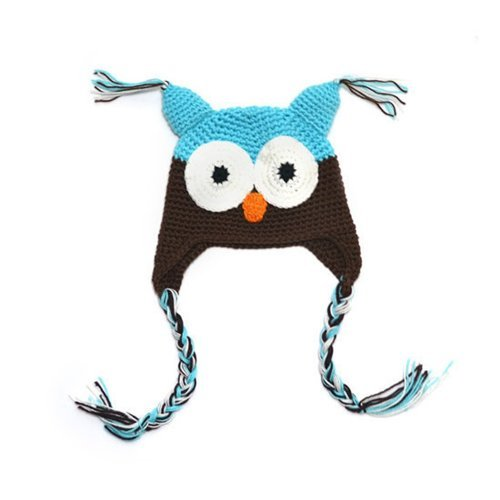 Kids Baby Boy Girl Crochet Sleepy Owl Hat Beanie Photography Photo Prop Party Shower Favor Blue&Coffee+Free Gift,Lace Doilies,Random Colors