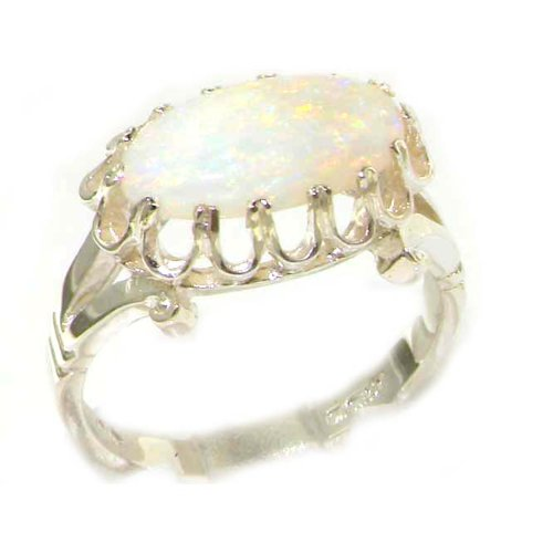 Quality Solid Sterling Silver Natural 12x6mm Opal Victorian Inspired Ring - Size 12 - Finger Sizes 5 to 12 Available - Suitable as an Anniversary ring, Engagement ring, Eternity ring, or Promise ring