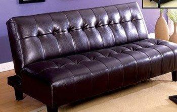 Belmont Espresso Finish Leather Futon Sofa Bed