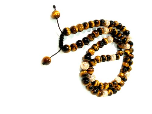Shamballa Necklace 30 Inches 10mm Smooth Brown Tiger Eye with Nine 10mm Rose Gold Crystal Pave Beads Adjustable Macrame Closure Unisex